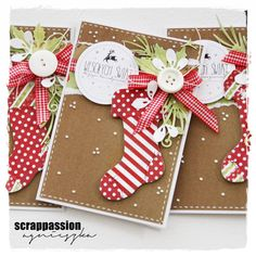 Christmas card with foliage ans stockings socks julestrømpe - julekort - scrappassion