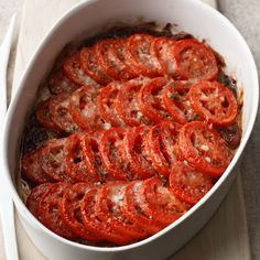 Who says that casseroles have to be starchy and heavy? This lightly seasoned tomato gratin is aperfect side dish for any hearty meal.   More Tomato ...