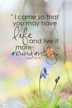 John 10:10 ~ enJOY each day more abundantly With Him and, later, for eternity!  Hallelujah!  The JOY that we can't even beGin to comprehend!