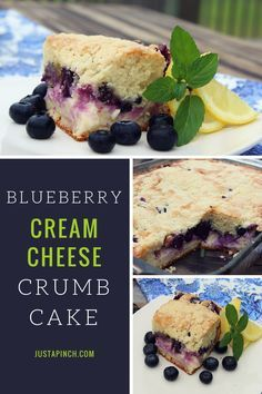 This blueberry crumb cake is delightful. The cake dense and slightly sweet. You get a great surprise when you bite in and taste the cream cheese and blueberries in the middle. The crumb topping adds a little crunch.