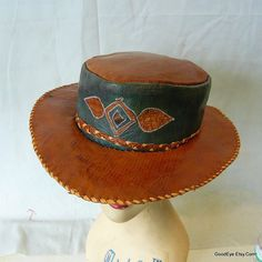 547fbbc5c40bd Amazing 70s Wide Brim Leather Hat Cognac Tan Bohemian Oval Shape Western  Men Women