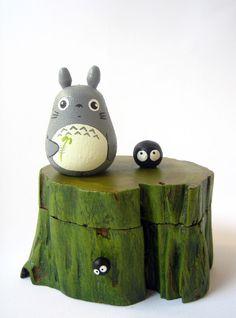 Totoro + Soot Gremlin teak wood box. #miyazaki #studioghibli