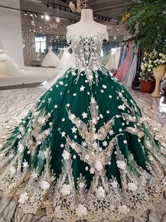 Green Sleeveless Off Shoulder Long Trailling Embroidery Wedding Dress — OSTTY Ball Dresses, Evening Dresses, Prom Dresses, Dresses With Sleeves, Wedding Dresses, Pretty Dresses, Beautiful Dresses, Vintage Ball Gowns, Vintage Formal Dresses