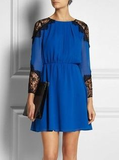 Vestido Azul com Renda - Ref.1009