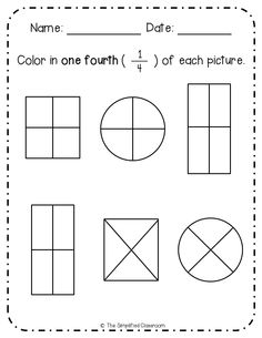 First Grade NO PREP Fractions Pack (Color-in, Matching