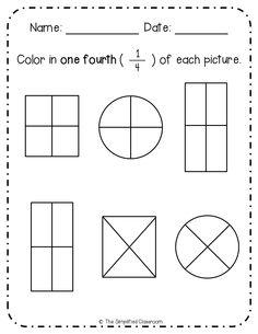 Printable fraction worksheets for first graders