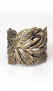 #Vtg Gold Leaf #Cuff Bangle Bracelet Gypsy Hippie Ethnic # Boho