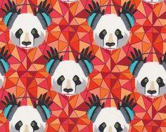 Glatter kühler Baumwolljersey FUNKY PANDA, Pandabär mit Kopfhörern, rot-weiß