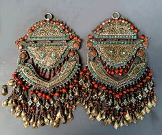 Double pendants Koran cases with filigree work inlaid turquoise and coral , Khiva area, Uzbekistan lt 19th c