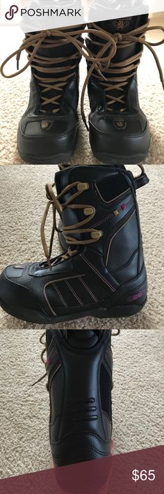 5150 women's snowboard boots. Brand new. Worn once 5150 women's snowboard boots. Excellent condition. Only worn once. Black with pink and brown stitching. Size 7 but these run small so fits more like a 6-6.5 5150 Shoes Winter & Rain Boots