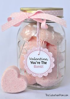 DIY Heart Bath Bombs Recipe With Free Tag Printables - Valentine's Day Craft / Gift idea