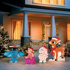 rudolph and his misfit friends will be ready and waiting for santa to arrive when you halloween outletchristmas yard decorationschristmas