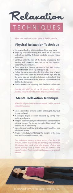 Relaxation Techniques — great exercise to calm you body and mind and reduce stress. #meditation #health #wellness