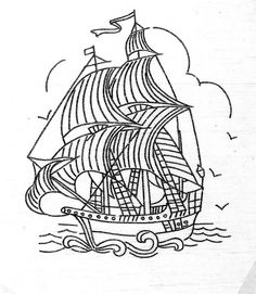 tiny galleon | Flickr - Photo Sharing! Boat Drawing, Ship Drawing, Line Drawing, Colouring Pages, Adult Coloring Pages, Coloring Sheets, Coloring Book, Hand Embroidery Designs, Embroidery Patterns