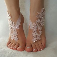 blush pink beaded beach wedding barefoot sandals country wedding shoes sandles barefoot anklets bridesmaid bridal spectacular barefeet
