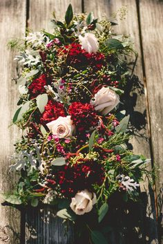 This Marsala & Gold Winter Wedding Romance is filled with warm hues of red, gold touches, delightful emerald green &cream florals & bespoke details Bohemian Wedding Flowers, Wedding Reception Flowers, Bridal Flowers, Red Wedding, Floral Wedding, Wedding Bouquets, Wedding Stuff, Wedding Planning Tips, Wedding Ideas