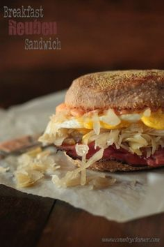 Breakfast Reuben Sandwich with Rye English Muffins by @Megan Keno - Country Cleaver