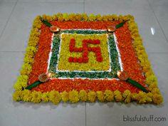 Rangoli Designs For Diwali: Your Starter Info & Inspo Kit - GypsyBulletin Simple Flower Rangoli, Rangoli Designs Flower, Rangoli Patterns, Rangoli Ideas, Colorful Rangoli Designs, Rangoli Designs Diwali, Diwali Rangoli, Rangoli Designs Images, Beautiful Rangoli Designs