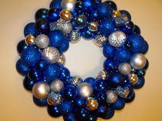 Blue Christmas Themes | Blue Christmas Ball Wreath | Holiday Ideas
