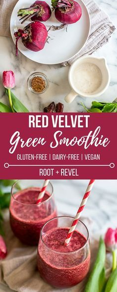This nourishing Red Velvet Green Smoothie with beets is love in a glass–it tastes like cake, but is chockfull of vitamins + minerals. Vegan (dairy-free) + gluten-free, too!