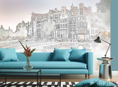 Black & White Amsterdam Cityscape Wallpaper MURAL