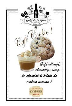 Café Cookie café du mois Café Restaurant, Cookies Et Biscuits, C'est Bon, Place Card Holders, Whipped Cream, Chocolate Syrup, Mead, Elder Flower, Train Station