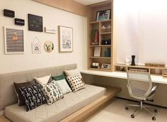 31 trendy home decoration wood offices Home Office Bedroom, Home Office Space, Guest Room Office, Home Office Design, Home Office Furniture, Home Office Decor, Bedroom Decor, Home Decor, Small Office