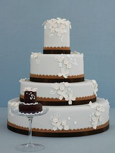 A Blue and Brown Wedding Cake