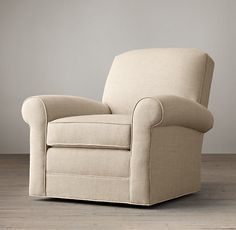 """Restoration Hardware  LOWELL UPHOLSTERED CLUB SWIVEL CHAIR  $1650 - $2150   Special $1410 - $1830  Our Deco-inspired chair offers sumptuous comfort in a compact footprint. Abundantly cushioned at the back, arms and sides, it's distinguished by rolled arms and an angled back with a slightly arched silhouette.  DIMENSIONS 37""""W x 38""""D x 35""""H"""