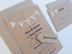 Wedding Invitation Rustic Lace Bunting on by FromLeoniWithLove