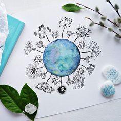 Palagina_art, zentangle, cosmos, watercolour, зентангл, космос, акварель