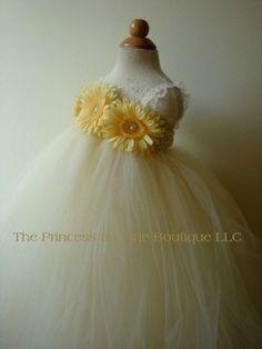 Flower girl dress, ivory tutu dress, yellow dasies, baby tutu dress, toddler tutu dress, wedding, birthday, Newborn, 2t,3t,4t,5t