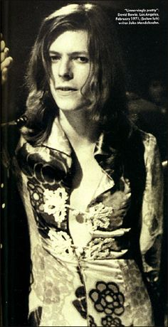David Bowie - Feb 1971 - velvet dress by Michael Fish of Mr. Fish designs