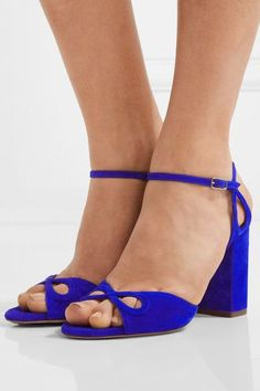 Aquazzura - Vera Cutout Suede Sandals - Bright blue - IT35.5