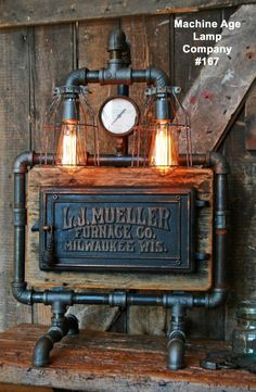 Steampunk Lamp Industrial Machine Steam Gauge Light Re-Claimed Engine Loft