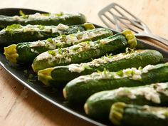 Baked Zucchini with Goat Cheese. As a tasty alternative, omit the mint and baste the cheese-filled squash with garlic-infused olive oil, using a fresh rosemary sprig as your basting brush. If you're cooking outdoors, try grilling the zucchini instead.
