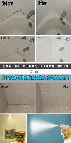 How To Clean Black Mold From Shower Silicone Sealant #cleaninghacks