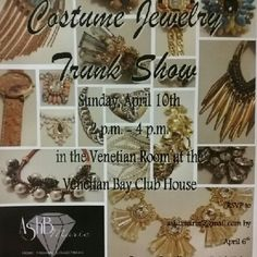 Costume Jewelry Trunk Show Hey girls in Volusia County FL! Come try on pieces from the AshBmarie Collection first hand.  * April 10th at the Venetian Bay Golf Course Club house from 2-4 in New Symerna Beach.   * CASH & CARRY.  * RSVP by April 6th to ashbmarie@gmail.com for your complimentary cocktail or glass of wine.  * Come early and have lunch at the restaurant, make it a late brunch with the girls and then come shop! AshBmarie Jewelry