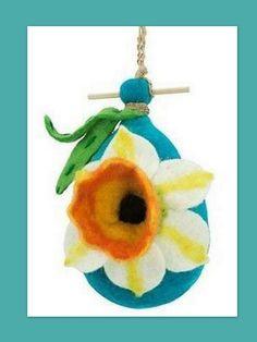 "Handmade Naturally Water Repellent Daffodil Flower 9"" x 5"" Birdhouse Yard Art #Handmade"