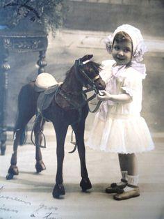 Antique wooden horse postcard  Little girl toy by LizKnijnenburg, €4.10