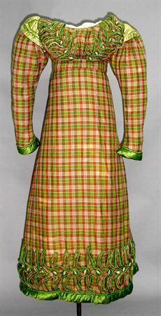 1820's Dress Plaid Silk - Regency Styled Dress ...