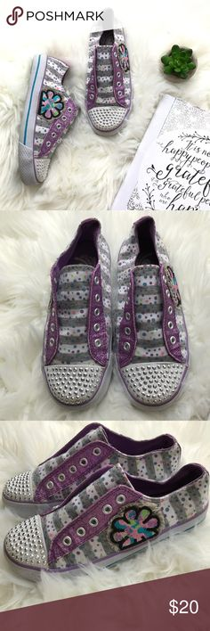 Bedazzled Tennis Shoes Purple gray and white stripes, polka dots, glitter and sparkle bedazzlement. What more could a girl want in her shoes? Children's Place Shoes Sneakers