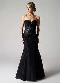 Trumpet/Mermaid Strapless Sweetheart Floor-Length Taffeta Prom Dress With Ruffle Beading
