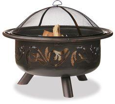 36 In Wide Oil Rubbed Bronze Firebowl With Swirls WAD900SP Blue Rhino