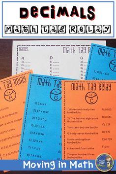 Decimals Math Tag Relay