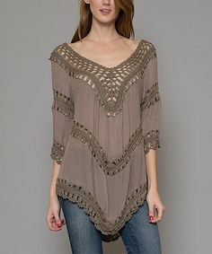 Love this Taupe Eyelet Tunic by Esley Collection on #zulily! #zulilyfinds