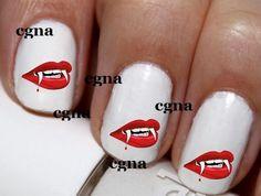 20 pc Halloween Vampir Lips Spooky Vampir Smile Blood Lips Red Kiss Happy Halloween Nail Art Nail Decals #cg308na