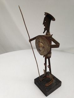 Don Quixote Vintage Mid Century Artesian Folk Art Primitive Statue Figurine Made From Salvaged Metal - Collectible Sculpture from Spain