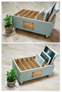 Cool idea for old drawers etc. Create a magazine - diyFurniture .Cool idea for old drawers etc. Create a magazine - diyFurniture - Upcycling - Ideen - alte coole diyFurniture eine createDIY side Refurbished Furniture, Repurposed Furniture, Furniture Makeover, Painted Furniture, Chair Makeover, Diy Furniture Repurpose, Repurposed Items, Diy Magazine Holder, Create A Magazine