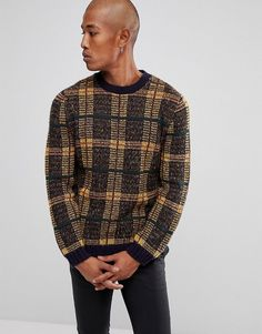 ASOS Fluffy Check Sweater In Navy And Mustard - Multi